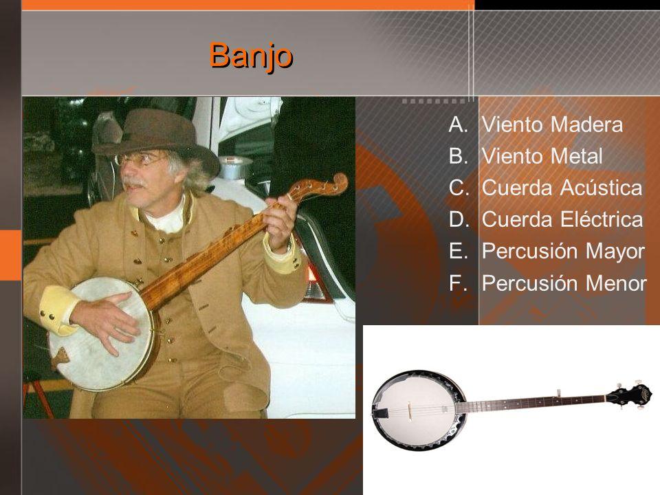 Banjo A. Viento Madera B. Viento Metal C. Cuerda Acústica D. Cuerda Eléctrica E. Percusión Mayor F. Percusión Menor