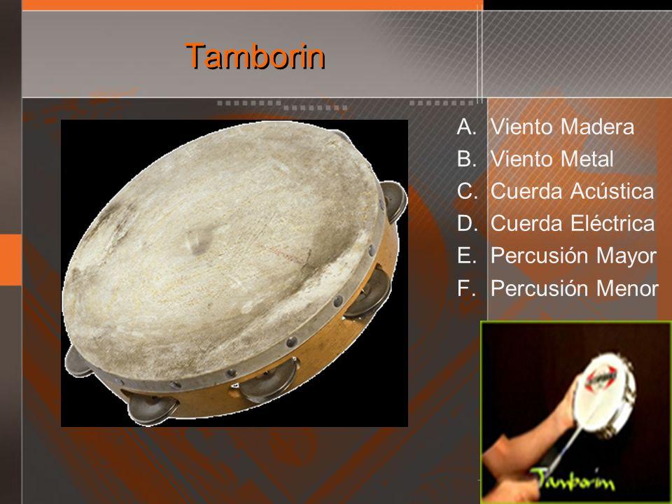 Tamborin A. Viento Madera B. Viento Metal C. Cuerda Acústica D. Cuerda Eléctrica E. Percusión Mayor F. Percusión Menor