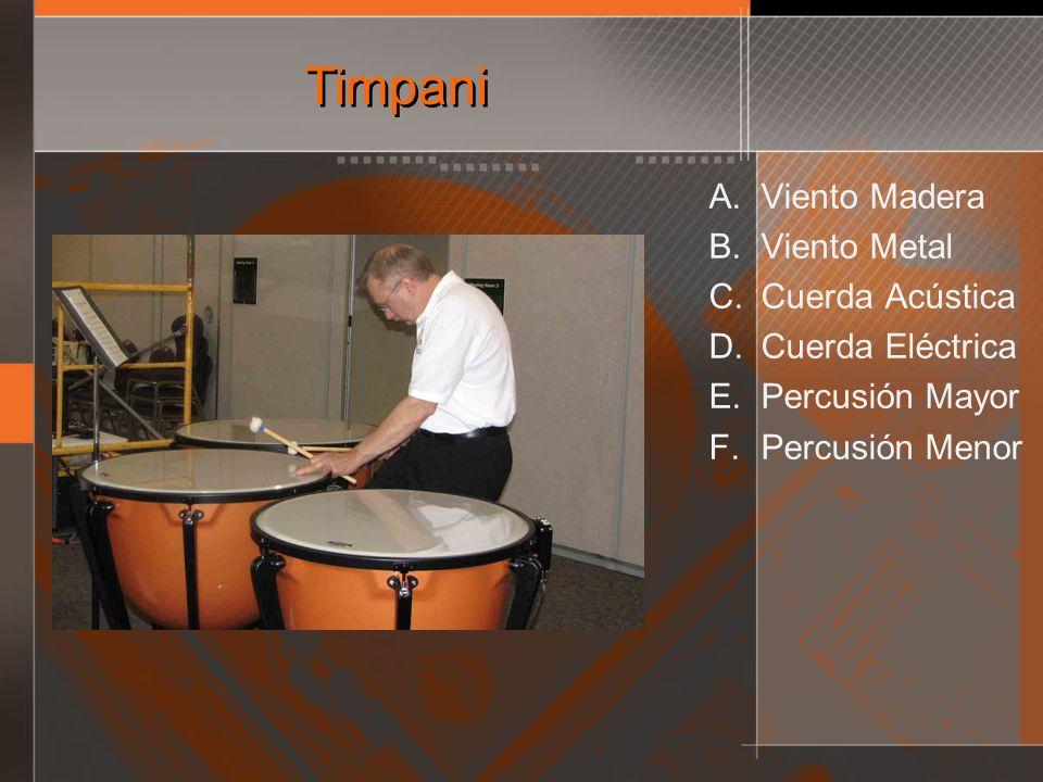 Timpani A. Viento Madera B. Viento Metal C. Cuerda Acústica D. Cuerda Eléctrica E. Percusión Mayor F. Percusión Menor