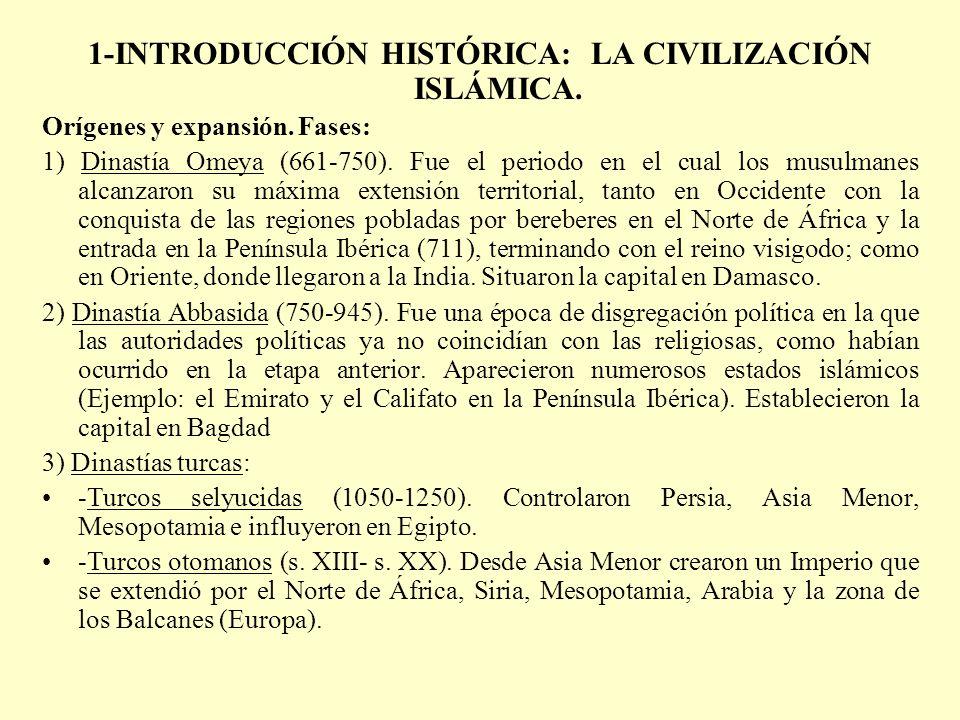 1-INTRODUCCIÓN HISTÓRICA: LA CIVILIZACIÓN ISLÁMICA. Orígenes y expansión. Fases: 1) Dinastía Omeya (661-750). Fue el periodo en el cual los musulmanes