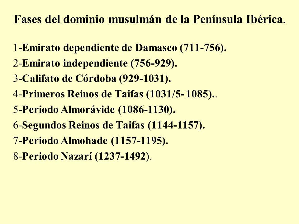 Fases del dominio musulmán de la Península Ibérica. 1-Emirato dependiente de Damasco (711-756). 2-Emirato independiente (756-929). 3-Califato de Córdo