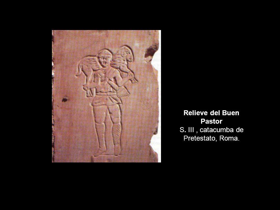 Relieve del Buen Pastor S. III, catacumba de Pretestato, Roma.
