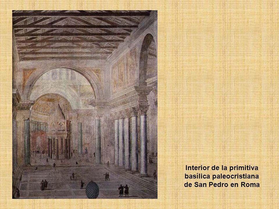 Interior de la primitiva basílica paleocristiana de San Pedro en Roma