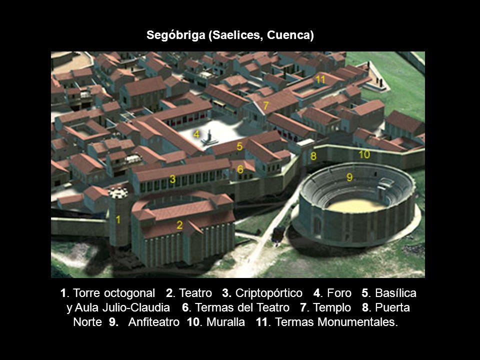 1. Torre octogonal 2. Teatro 3. Criptopórtico 4. Foro 5. Basílica y Aula Julio-Claudia 6. Termas del Teatro 7. Templo 8. Puerta Norte 9. Anfiteatro 10