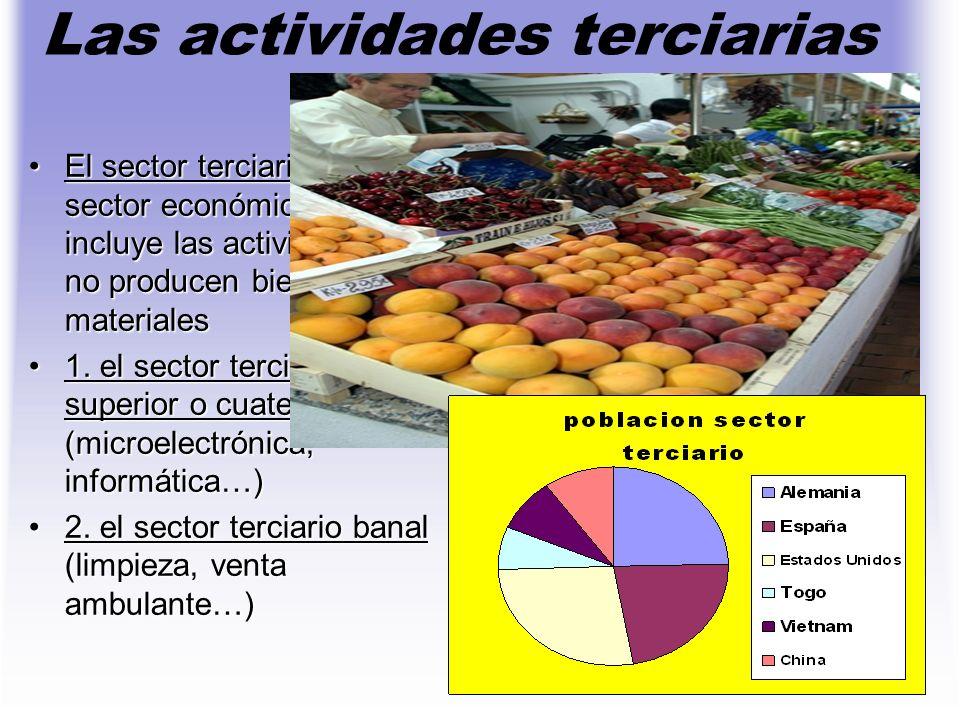 Las actividades terciarias El sector terciario es el sector económico que incluye las actividades que no producen bienes materialesEl sector terciario