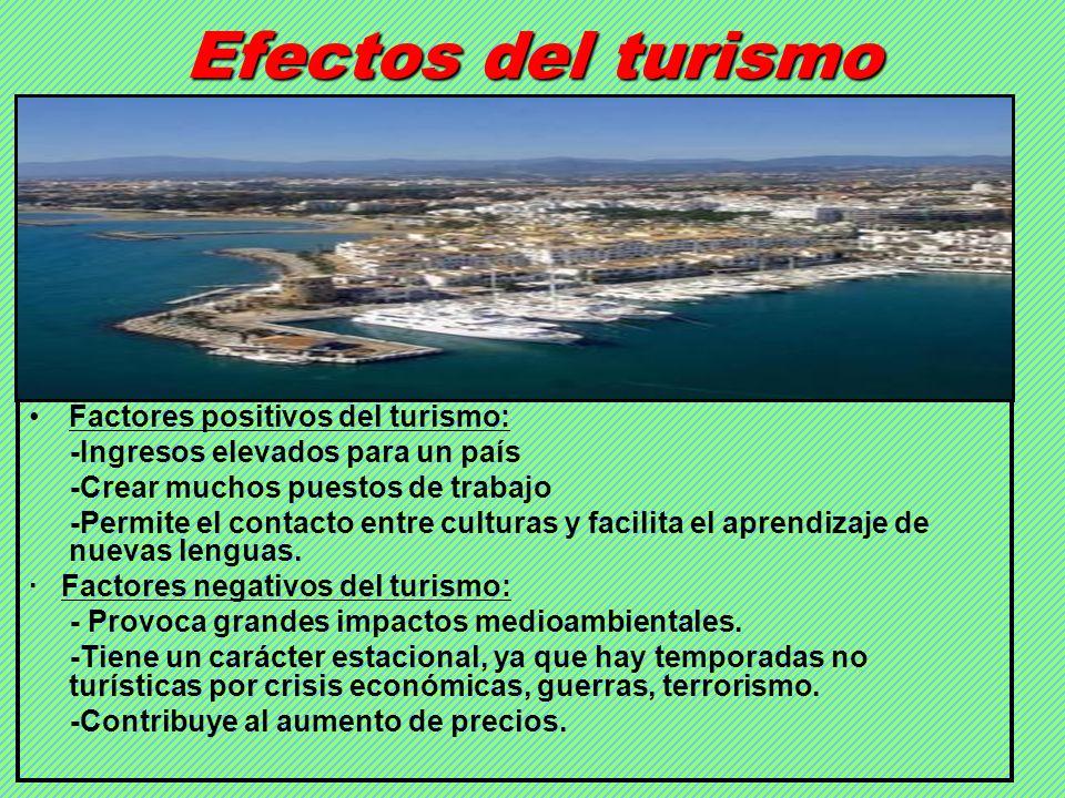 Efectos del turismo Factores positivos del turismo: -Ingresos elevados para un país -Crear muchos puestos de trabajo -Permite el contacto entre cultur
