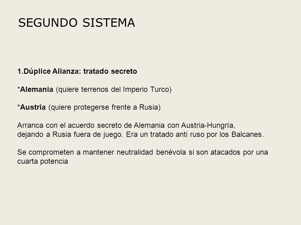 SEGUNDO SISTEMA 1.Dúplice Alianza: tratado secreto *Alemania (quiere terrenos del Imperio Turco) *Austria (quiere protegerse frente a Rusia) Arranca c