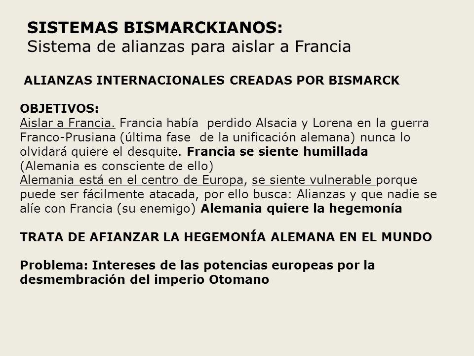 SISTEMAS BISMARCKIANOS: Sistema de alianzas para aislar a Francia ALIANZAS INTERNACIONALES CREADAS POR BISMARCK OBJETIVOS: Aislar a Francia. Francia h