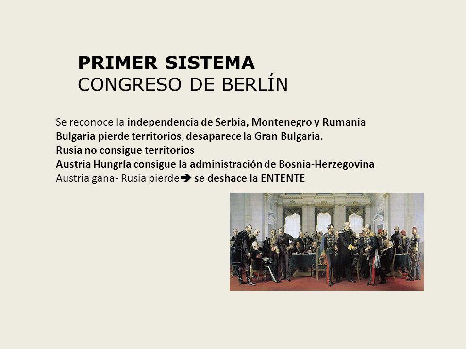 PRIMER SISTEMA CONGRESO DE BERLÍN Se reconoce la independencia de Serbia, Montenegro y Rumania Bulgaria pierde territorios, desaparece la Gran Bulgari