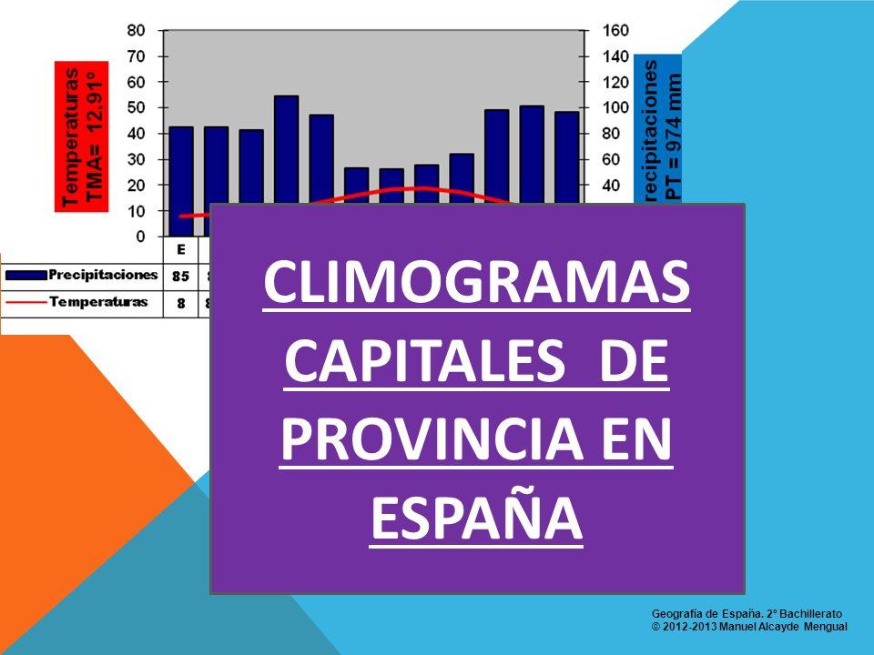 CLIMOGRAMAS CAPITALES DE PROVINCIA EN ESPAÑA Geografía de España. 2º Bachillerato © 2012-2013 Manuel Alcayde Mengual