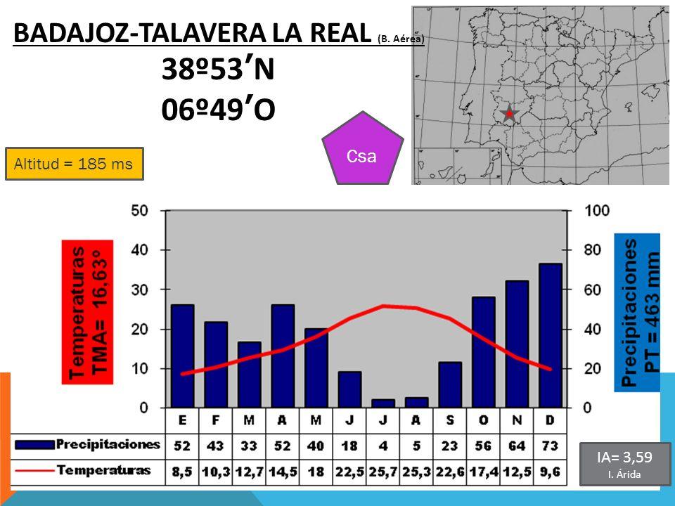 Altitud = 185 ms BADAJOZ-TALAVERA LA REAL (B. Aérea) 38º53N 06º49O Csa IA= 3,59 I. Árida