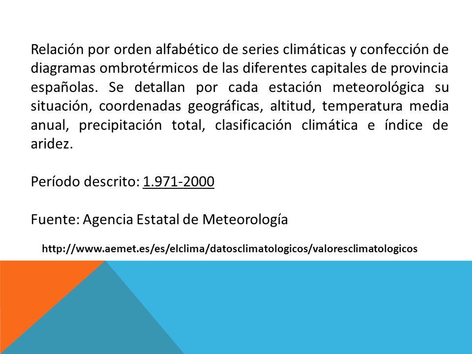 http://www.aemet.es/es/elclima/datosclimatologicos/valoresclimatologicos Relación por orden alfabético de series climáticas y confección de diagramas