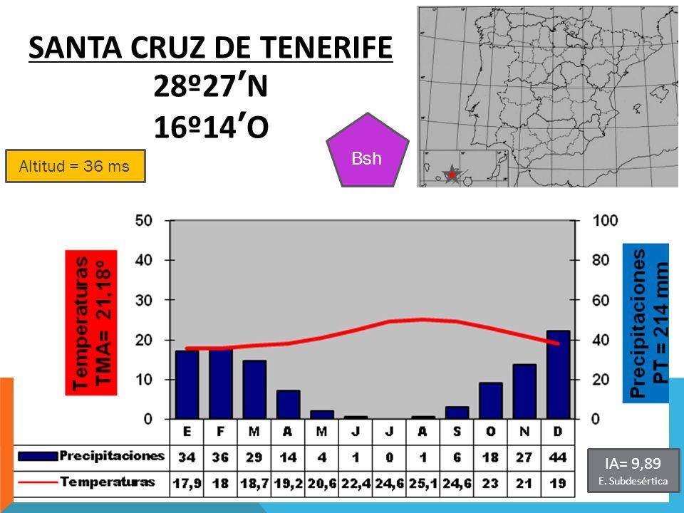 Altitud = 36 ms SANTA CRUZ DE TENERIFE 28º27N 16º14O Bsh IA= 9,89 E. Subdesértica