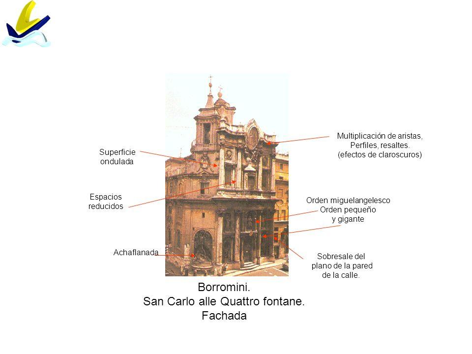 Borromini. San Carlo alle Quattro fontane. Fachada Achaflanada Sobresale del plano de la pared de la calle. Orden miguelangelesco Orden pequeño y giga