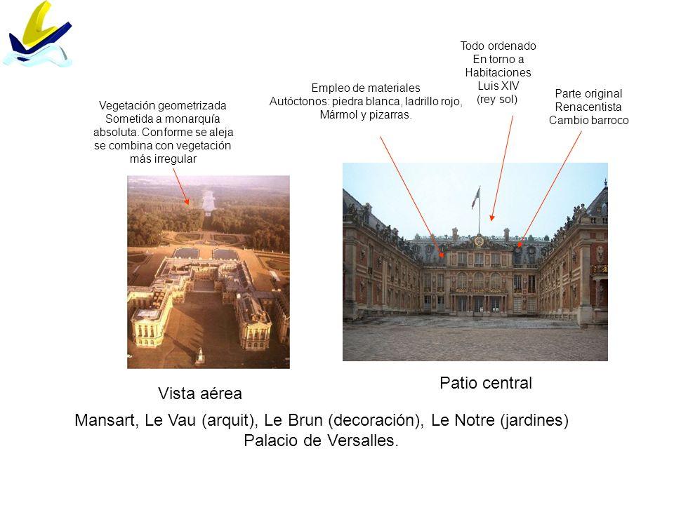 Mansart, Le Vau (arquit), Le Brun (decoración), Le Notre (jardines) Palacio de Versalles. Vista aérea Patio central Empleo de materiales Autóctonos: p