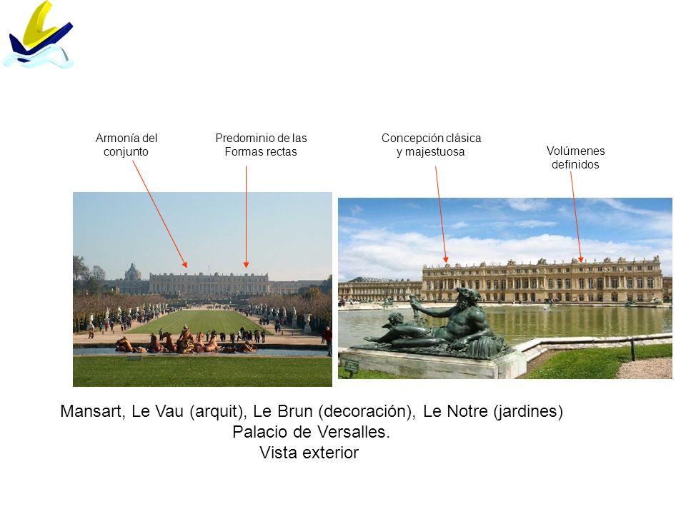 Mansart, Le Vau (arquit), Le Brun (decoración), Le Notre (jardines) Palacio de Versalles. Vista exterior Volúmenes definidos Predominio de las Formas