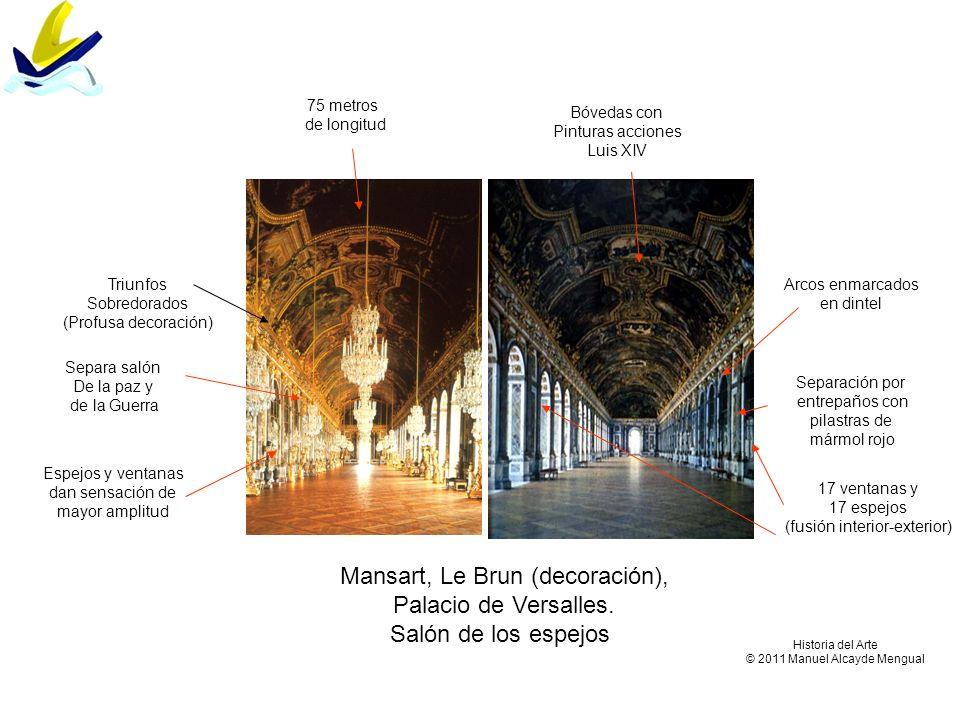 Mansart, Le Brun (decoración), Palacio de Versalles. Salón de los espejos 17 ventanas y 17 espejos (fusión interior-exterior) Bóvedas con Pinturas acc