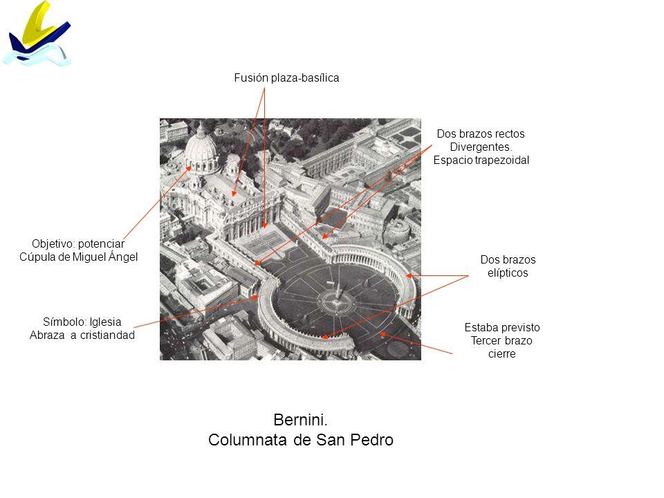 Bernini. Columnata de San Pedro Dos brazos rectos Divergentes. Espacio trapezoidal Dos brazos elípticos Fusión plaza-basílica Estaba previsto Tercer b