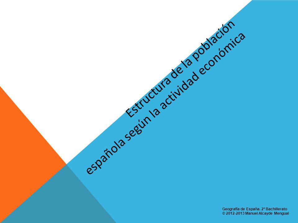 Estructura de la población española según la actividad económica Geografía de España. 2º Bachillerato © 2012-2013 Manuel Alcayde Mengual