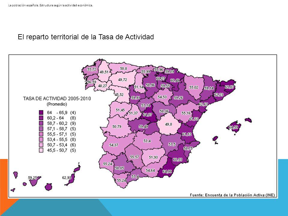La población española. Estructura según la actividad económica. El reparto territorial de la Tasa de Actividad