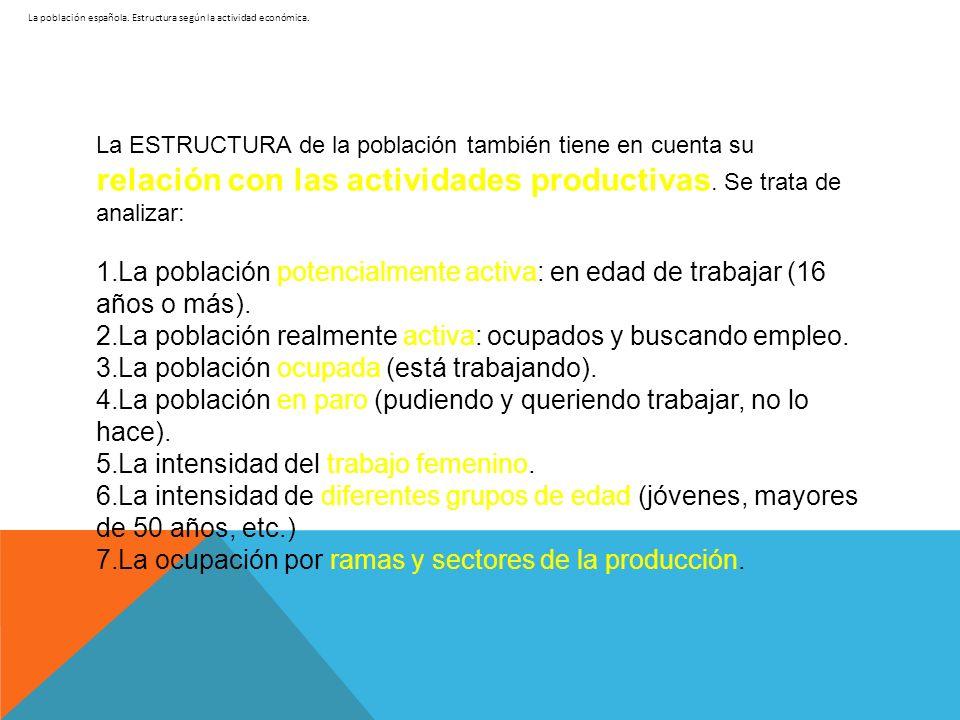 La población española. Estructura según la actividad económica. La ESTRUCTURA de la población también tiene en cuenta su relación con las actividades