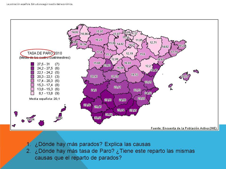 La población española. Estructura según la actividad económica. 1.¿Dónde hay más parados? Explica las causas 2.¿Dónde hay más tasa de Paro? ¿Tiene est