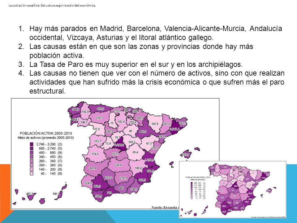 La población española. Estructura según la actividad económica. 1.Hay más parados en Madrid, Barcelona, Valencia-Alicante-Murcia, Andalucía occidental