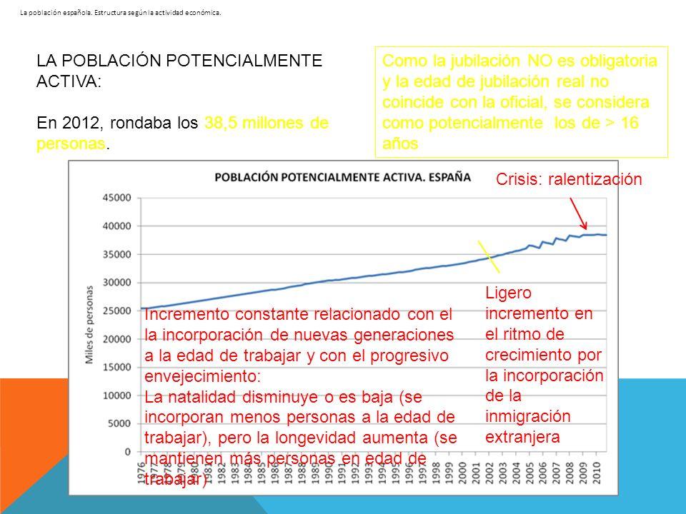 La población española. Estructura según la actividad económica. LA POBLACIÓN POTENCIALMENTE ACTIVA: En 2012, rondaba los 38,5 millones de personas. Li
