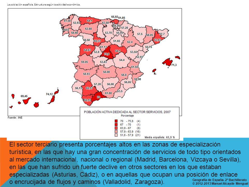 La población española. Estructura según la actividad económica. El sector terciario presenta porcentajes altos en las zonas de especialización turísti