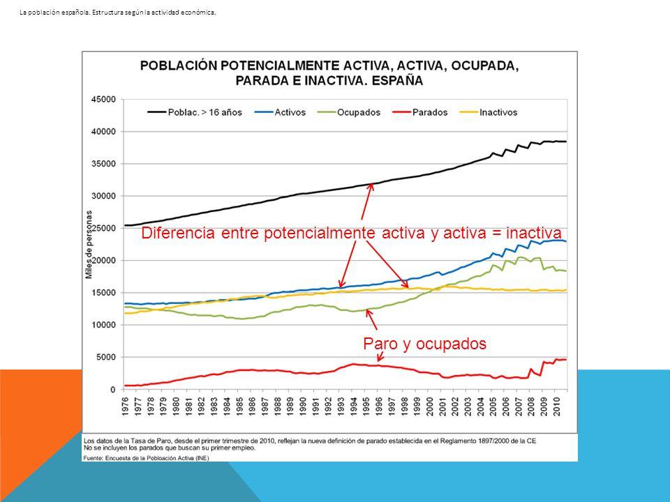 La población española. Estructura según la actividad económica. Diferencia entre potencialmente activa y activa = inactiva Paro y ocupados