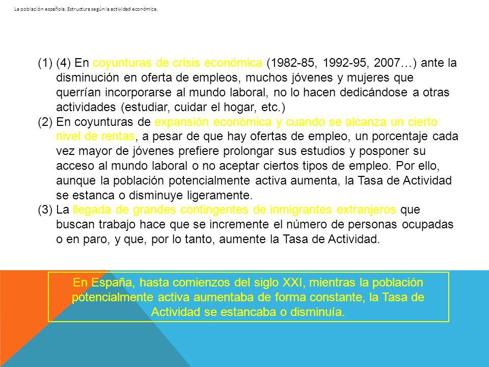 La población española. Estructura según la actividad económica. (1)(4) En coyunturas de crisis económica (1982-85, 1992-95, 2007…) ante la disminución