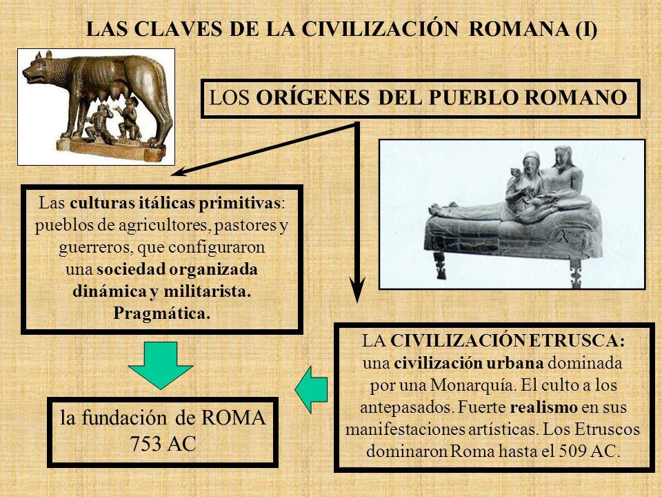LAS CLAVES DE LA CIVILIZACIÓN ROMANA (I) LOS ORÍGENES DEL PUEBLO ROMANO Las culturas itálicas primitivas: pueblos de agricultores, pastores y guerrero