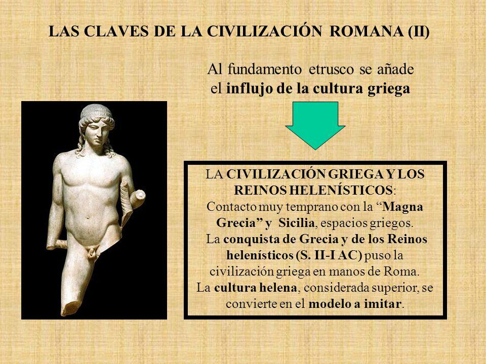 LAS CLAVES DE LA CIVILIZACIÓN ROMANA (II) LA CIVILIZACIÓN GRIEGA Y LOS REINOS HELENÍSTICOS: Contacto muy temprano con la Magna Grecia y Sicilia, espac
