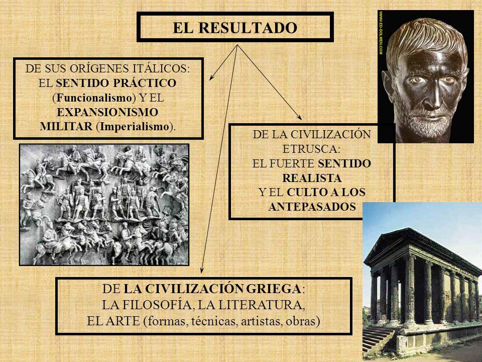 EL RESULTADO DE SUS ORÍGENES ITÁLICOS: EL SENTIDO PRÁCTICO (Funcionalismo) Y EL EXPANSIONISMO MILITAR (Imperialismo). DE LA CIVILIZACIÓN ETRUSCA: EL F
