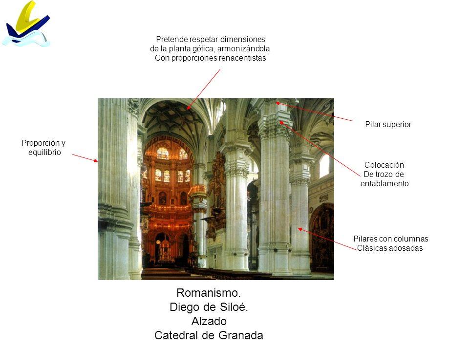 Romanismo. Diego de Siloé. Alzado Catedral de Granada Pilares con columnas Clásicas adosadas Proporción y equilibrio Colocación De trozo de entablamen
