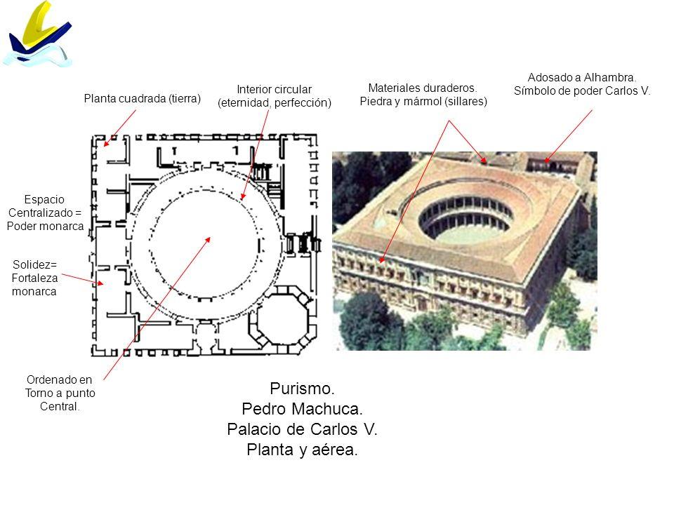 Purismo. Pedro Machuca. Palacio de Carlos V. Planta y aérea. Planta cuadrada (tierra) Interior circular (eternidad, perfección) Adosado a Alhambra. Sí