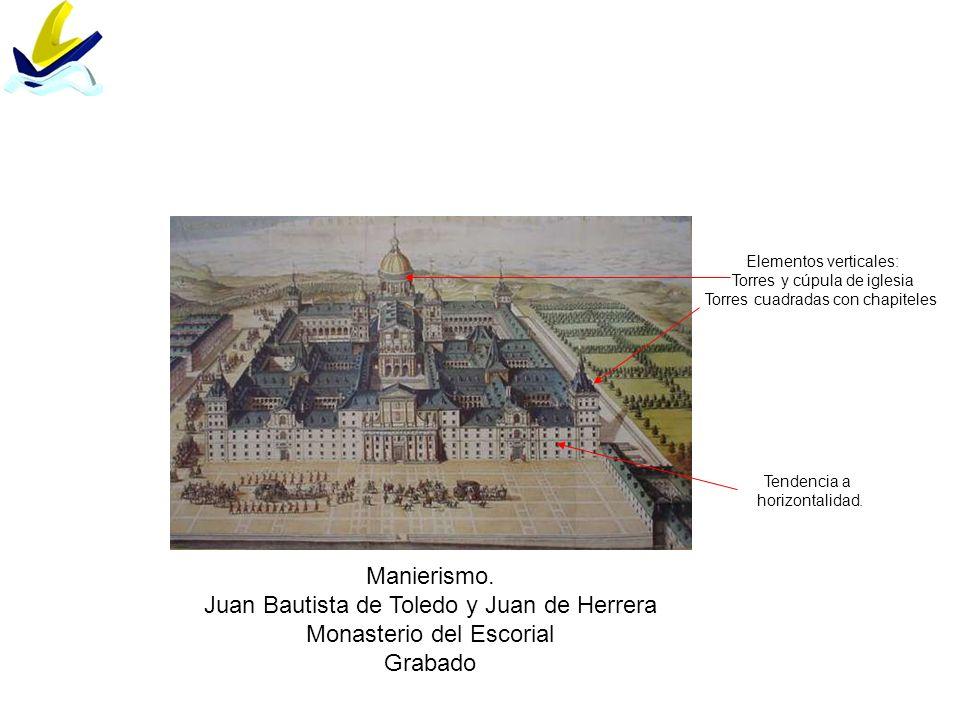Manierismo. Juan Bautista de Toledo y Juan de Herrera Monasterio del Escorial Grabado Tendencia a horizontalidad. Elementos verticales: Torres y cúpul