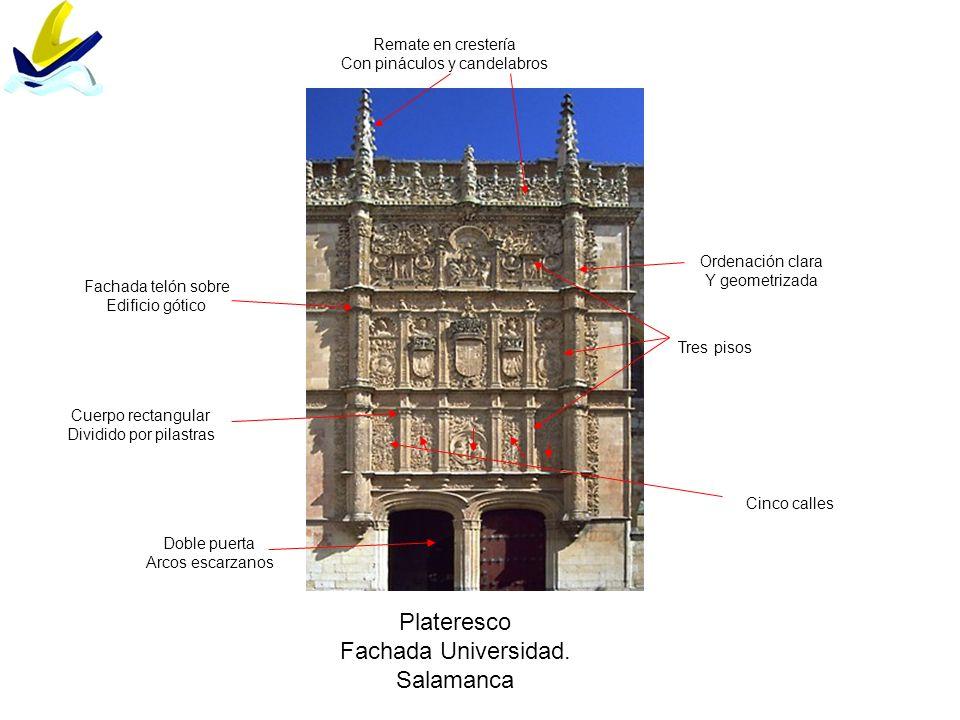 Plateresco Fachada Universidad. Salamanca Fachada telón sobre Edificio gótico Ordenación clara Y geometrizada Cuerpo rectangular Dividido por pilastra