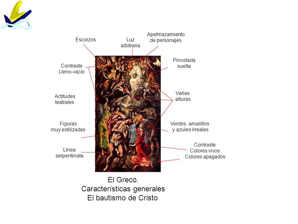 El Greco. Características generales El bautismo de Cristo Varias alturas Contraste Lleno-vacío Luz arbitraria Figuras muy estilizadas Línea serpentina