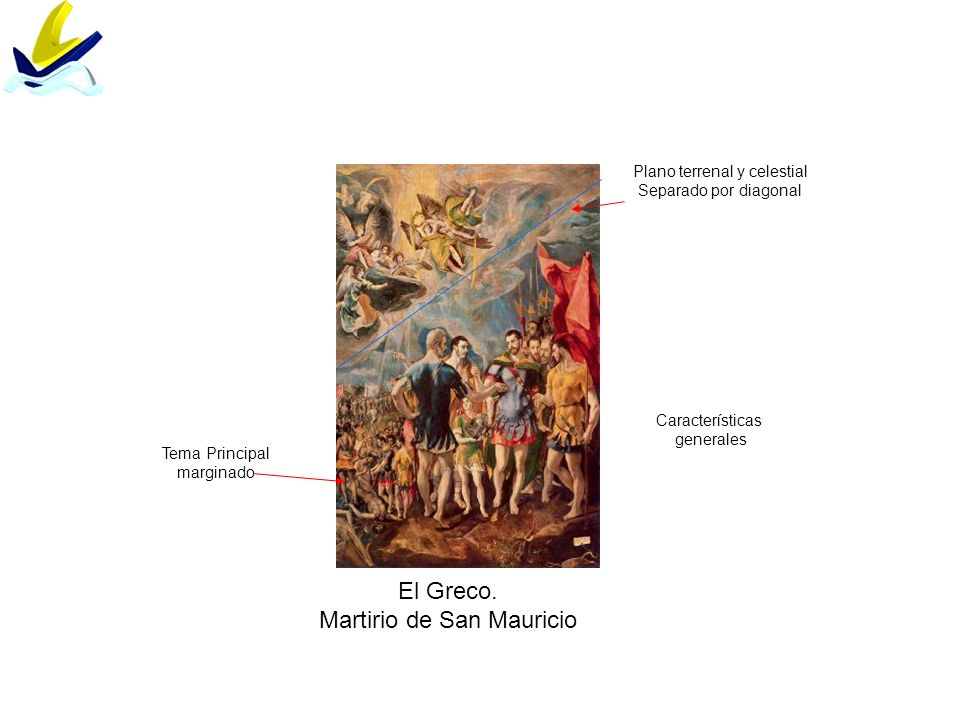 El Greco. Martirio de San Mauricio Tema Principal marginado Plano terrenal y celestial Separado por diagonal Características generales