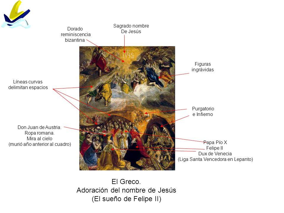 El Greco. Adoración del nombre de Jesús (El sueño de Felipe II) Líneas curvas delimitan espacios Papa Pío X Felipe II Dux de Venecia (Liga Santa.Vence