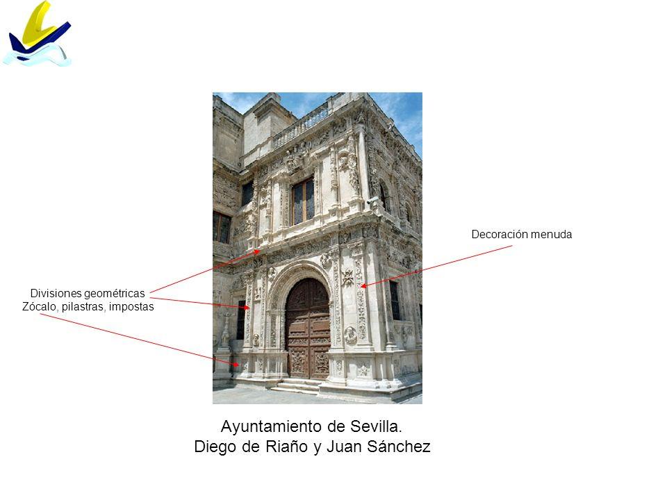 Ayuntamiento de Sevilla. Diego de Riaño y Juan Sánchez Divisiones geométricas Zócalo, pilastras, impostas Decoración menuda
