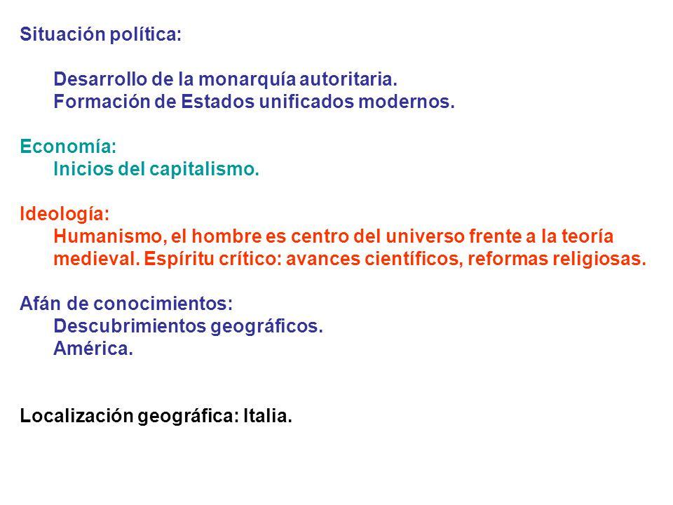 Situación política: Desarrollo de la monarquía autoritaria. Formación de Estados unificados modernos. Economía: Inicios del capitalismo. Ideología: Hu