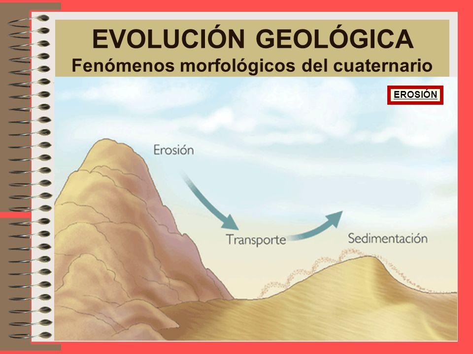 Los hechos fundamentales que afectan al Cuaternario (hace 1 ó 2 millones de años), son la erosión del hielo y la actividad fluvial. Los ejemplos de gl