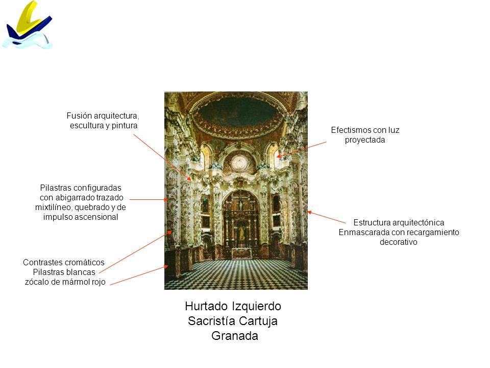 Hurtado Izquierdo Sacristía Cartuja Granada Estructura arquitectónica Enmascarada con recargamiento decorativo Efectismos con luz proyectada Contraste