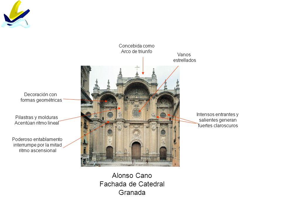 Alonso Cano Fachada de Catedral Granada Vanos estrellados Concebida como Arco de triunfo Pilastras y molduras Acentúan ritmo lineal Intensos entrantes
