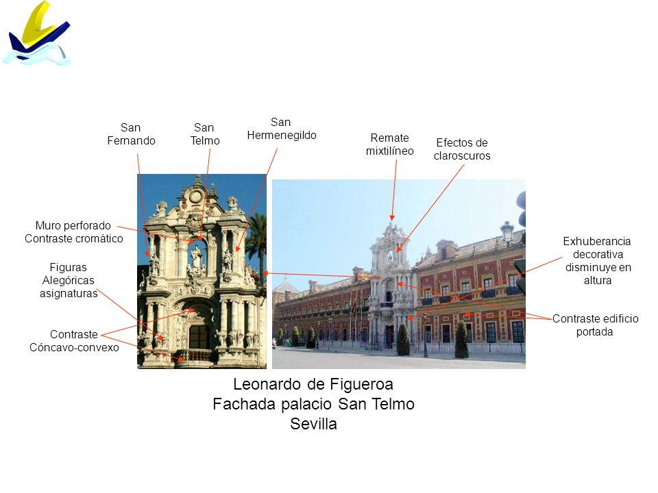 Leonardo de Figueroa Fachada palacio San Telmo Sevilla Contraste edificio portada Efectos de claroscuros San Telmo San Hermenegildo San Fernando Contr