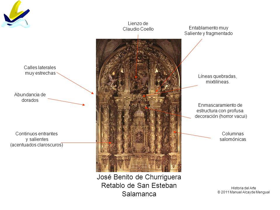 José Benito de Churriguera Retablo de San Esteban Salamanca Columnas salomónicas Enmascaramiento de estructura con profusa decoración (horror vacui) A