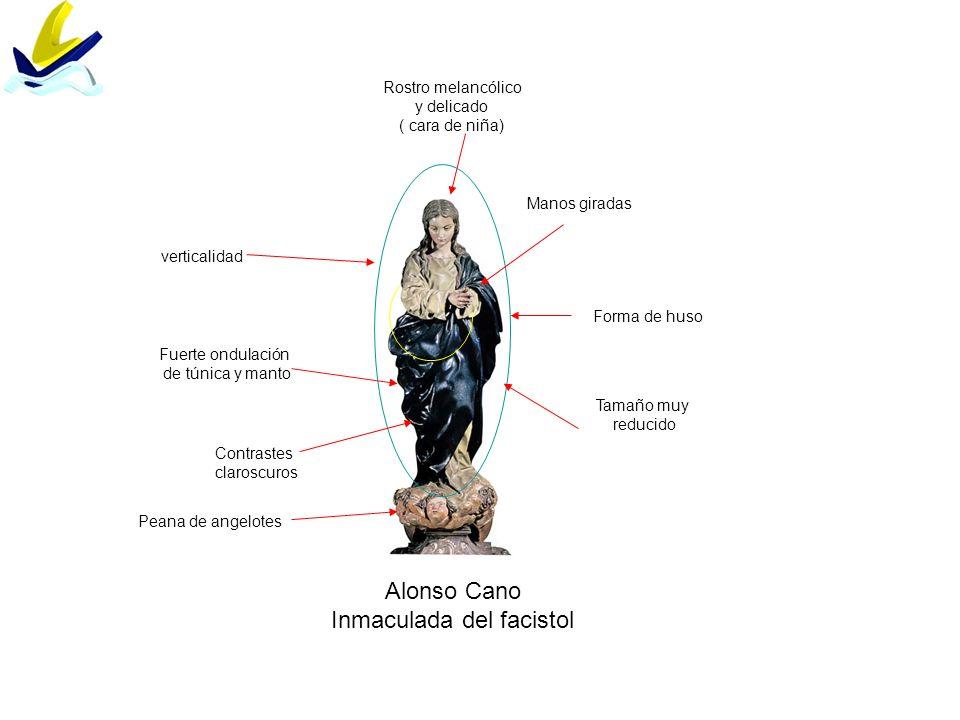 Alonso Cano Inmaculada del facistol Rostro melancólico y delicado ( cara de niña) Forma de huso Tamaño muy reducido Fuerte ondulación de túnica y mant