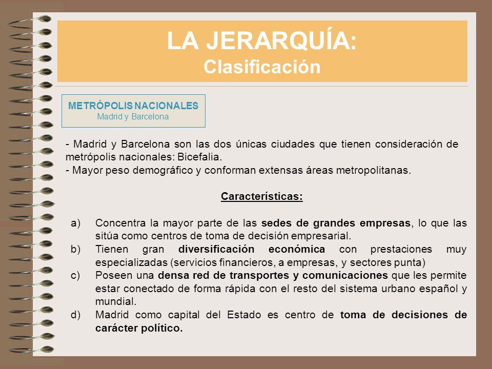 LA JERARQUÍA: Clasificación METRÓPOLIS NACIONALES Madrid y Barcelona - Madrid y Barcelona son las dos únicas ciudades que tienen consideración de metr